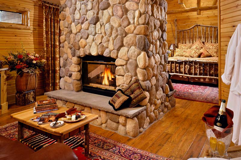 adirondack bed and breakfast style resort with fireplace
