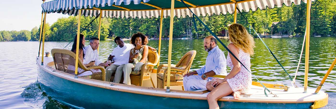 boat tour at our Adirondack resort