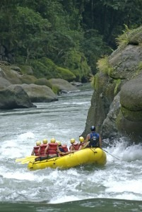 People in yellow whitewater raft