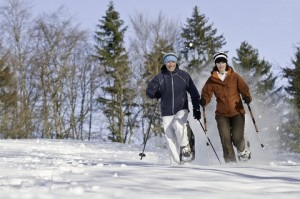 2 people snowshoeing